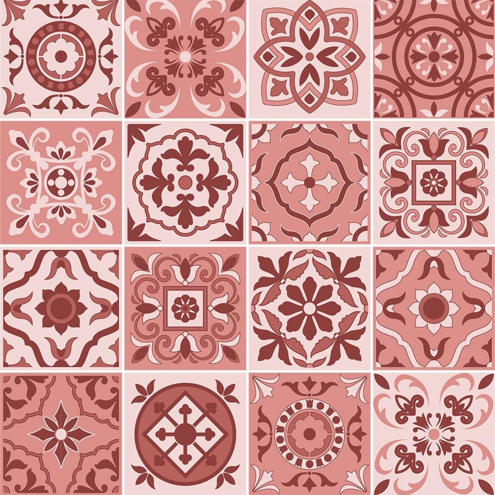 KIT Adesivos de Azulejos Rosa Abstrato