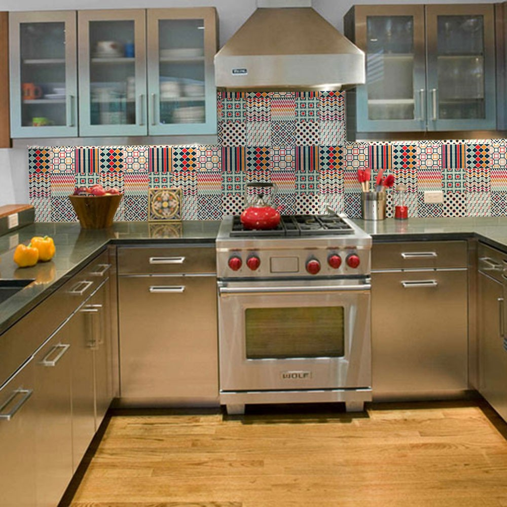 KIT Adesivos de Azulejos Traços Coloridos