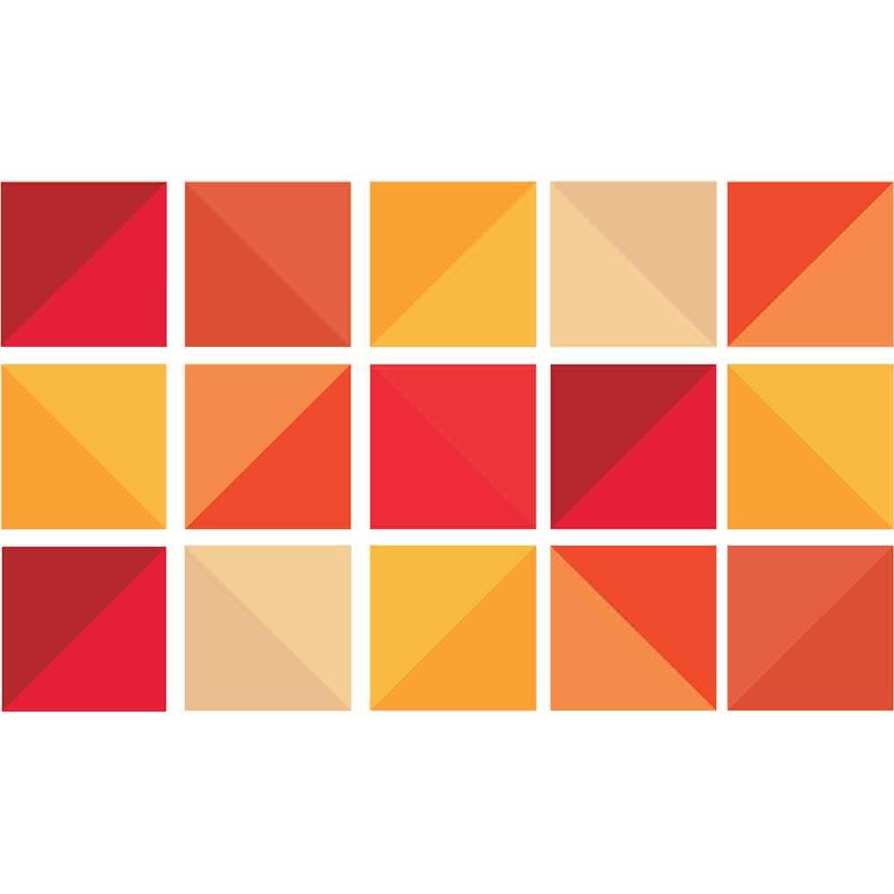 KIT Adesivos de Azulejos Triângulos Laranjas