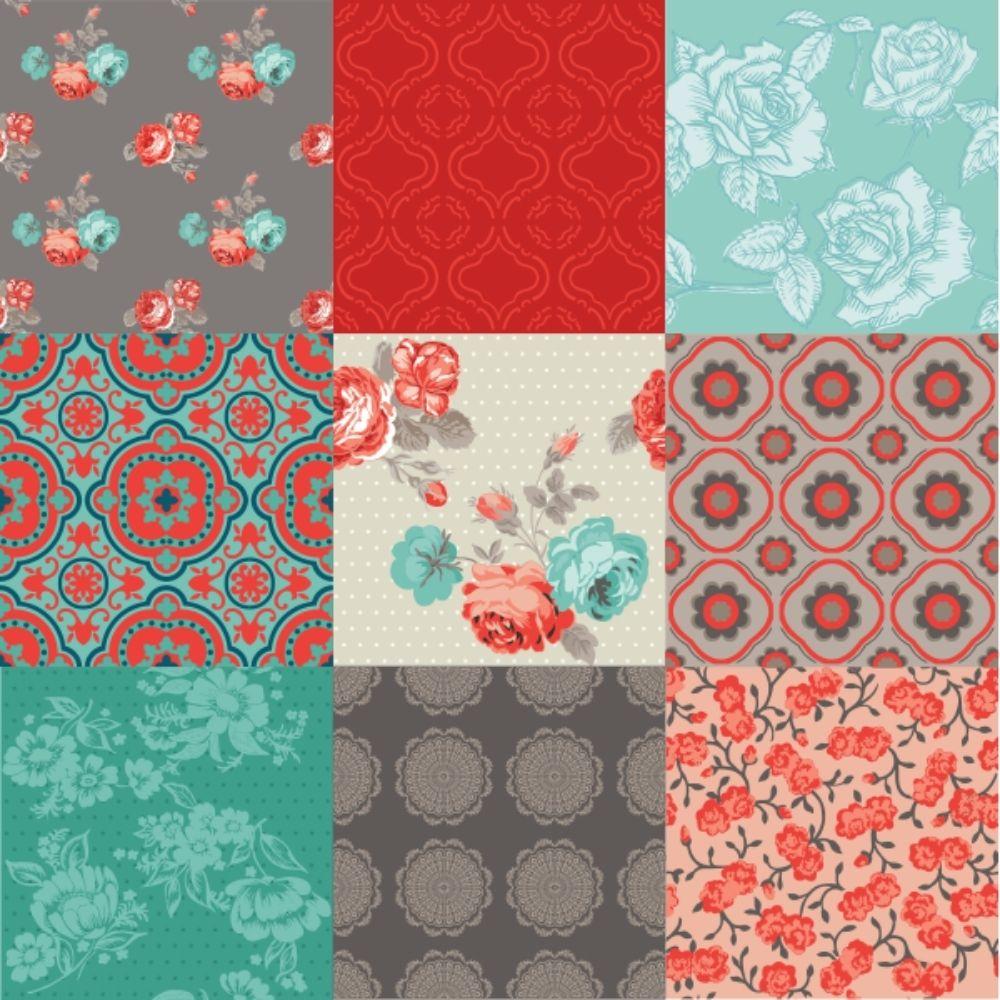 KIT Adesivos de Azulejos Vintage Flowers