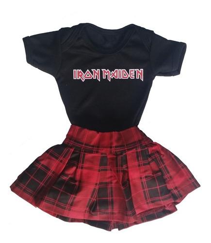 - Kit Body Bebê Menina Iron Maiden + Saia Bebê Xadrez Vermelha