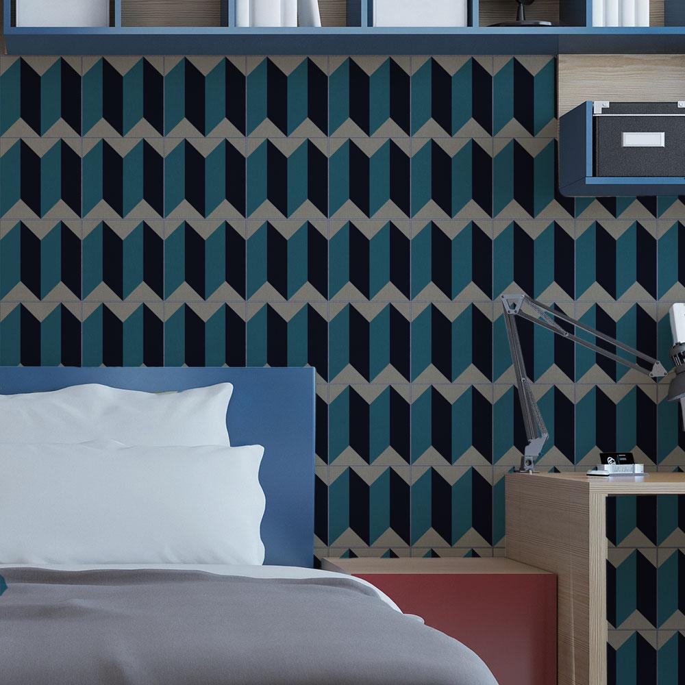 KIT de Adesivos de Azulejos Illusion Blue And Black