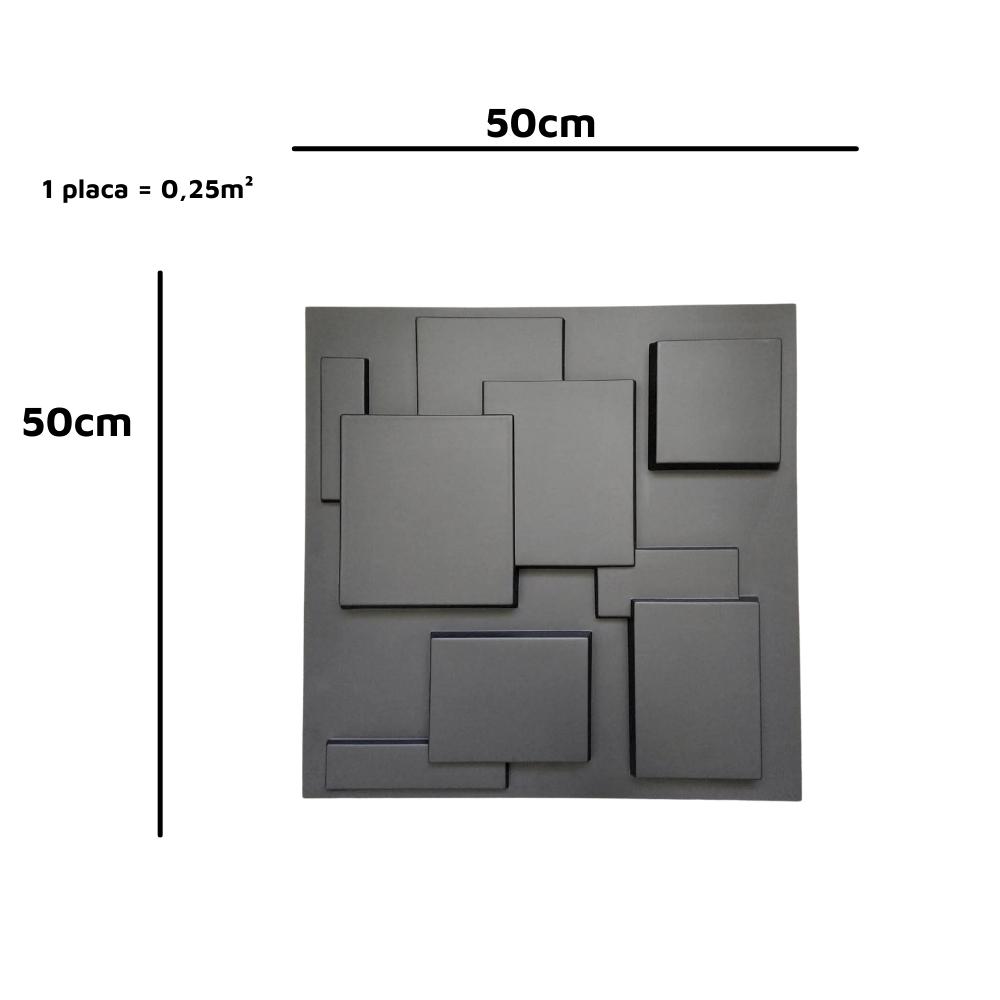 PLACA 3D AUTOADESIVA 50x50CM PLAZA DARK - Linha PREMIUM