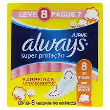 ALWAYS ABSORVENTE COM ABAS SUAVE SUPER PROTEÇÃO PAGUE 7 LEVE 8