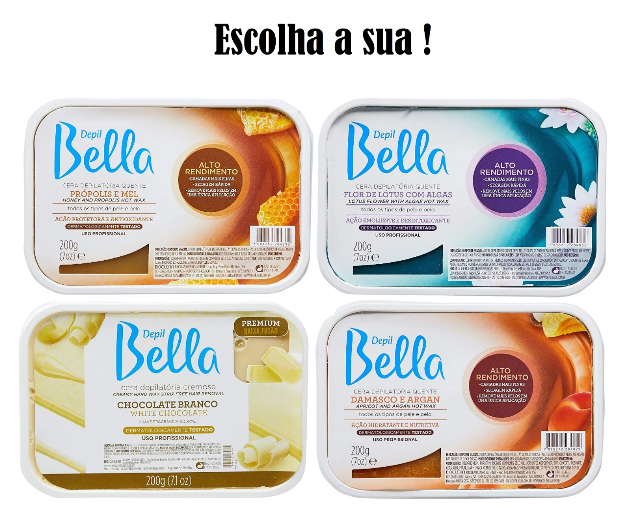 DEPIL BELLA CERA DEPILATÓRIA 200g (Escolha a sua)