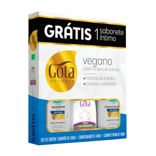 GOTA DOURADA KIT VEGANO 340ML COM SABONETE ÍNTIMO - 100 ml