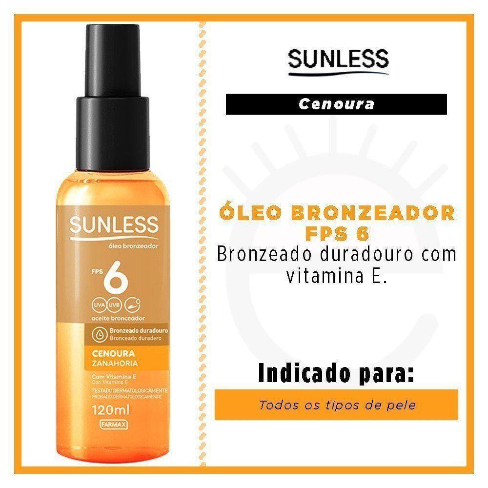 SUNLESS ÓLEO BRONZEADOR FPS 6 CENOURA - 120ml