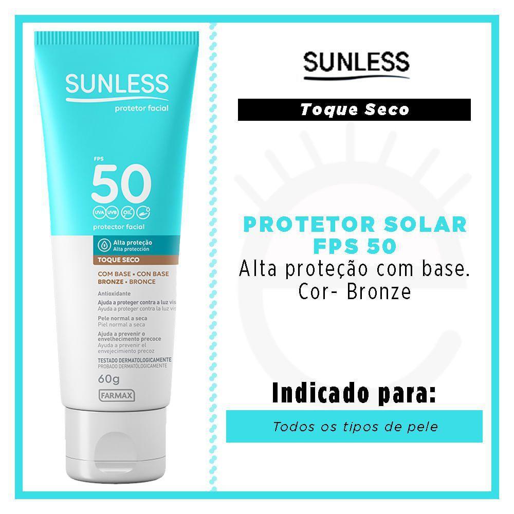SUNLESS PROTETOR SOLAR FPS 50 (COM BASE BRONZE) - 60g