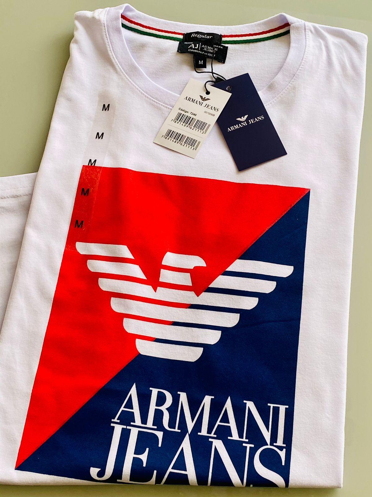Camiseta Masculina Armani Jeans Estampada Premium (cada)