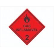 50 Adesivo Gás Inflamável 2 Produtos Perigosos - 3x3cm