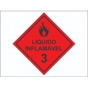 60 Adesivo Produtos Perigosos /  Líquido Inflamável 3 - 3x3cm