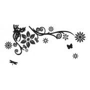 Adesivo De Parede Flor Em Alto Relevo 100x50cm - Preto