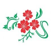 Adesivo De Parede Flores Em Alto Relevo 100x75cm - Vermelho e Verde