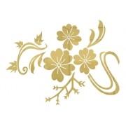 Adesivo De Parede Floral Em Alto Relevo 100x75cm - Dourado