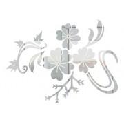 Adesivo De Parede Flores Em Alto Relevo 100x75cm - Prata