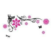 Adesivo De Parede Flores Em Alto Relevo 150x75cm - Rosa