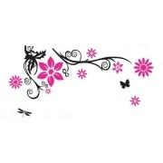 Adesivo De Parede Flor Em Alto Relevo 150x75cm