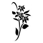 Adesivo De Parede Flores Em Alto Relevo 50x100cm - Preto