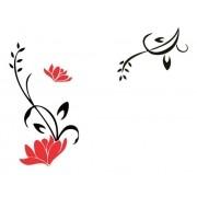 Adesivo De Parede Flor Em Alto Relevo 90x150 E 90x70cm - Preto
