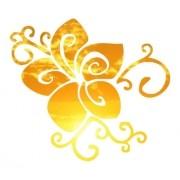 Adesivo Em Alto Relevo P/ Parede Flor 70x60cm - Dourado