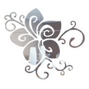 Adesivo Em Alto Relevo P/ Parede Flor 70x60cm - Prata