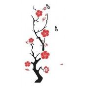 Adesivo Parede Em Alto Relevo Flor 45x110cm - Preto e Rosa