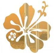 Adesivo Parede Em Alto Relevo Flor 70x75cm - Dourado