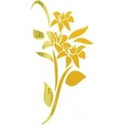 Adesivo Parede Em Alto Relevo - Flores Tulipa 75x150cm - Dourado