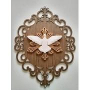 Quadro Decorativo em Alto Relevo    3D - Pombo Da Paz Em Mdf -  25x35cm