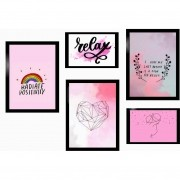 Kit 5 Quadros Decorativos - Relex | Hope | Love Com Moldura - 100x70cm