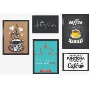 Kit Quadros Decorativos Café 5 Peças Com Moldura