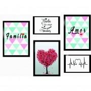 Kit 5 Quadros Decorativos - Fanilia | Amor | Sonhos Com Moldura - 100x70cm