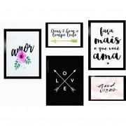 Kit 5 Quadros Decorativos - Frases Love | Amor | Gratidão Com Moldura 100x70cm