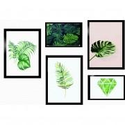 Kit 5 Quadros Decorativos -  Plantas Com Moldura - 100x70cm