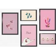 Kit Quadros Decorativos Rosa 5 Peças Com Moldura