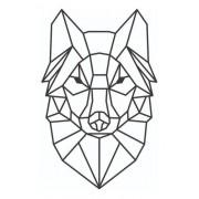 Lobo Geométrico Para Decoração - Mdf Preto