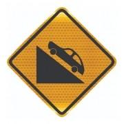 Placa De Aclive Acentuado Com Adesivo Refletivo A-20b Grau Técnico Comercial - 50x50cm