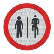 Placa Pedestre À Esquerda, Ciclista À Direita R-36b Grau Técnico I - 50x50cm