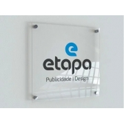 Placa Personalizada em Acrílico -  Empresa | Logo | Marca  | Nome - 50x50cm + 4 espaçadores
