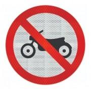 Placa Proibido Trânsito De Motos R-37 Grau Técnico Comercial - 50x50cm
