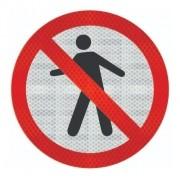 Placa Proibido Trânsito De Pedestre R-29 Grau Técnico Comercial - 50x50cm
