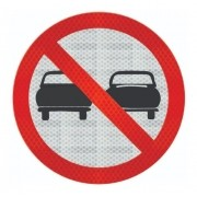 Placa Proibido Ultrapassar R-7 Grau Técnico Comercial - 50x50cm
