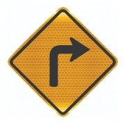 Placa Trânsito Curva Acentuada A Direita A-1b Grau Técnico I - 50x50cm