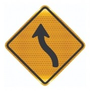 Placa Trânsito Curva Em S À Esquerda A-5a Grau Técnico Comercial - 50x50cm