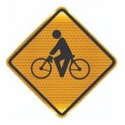Placa Trânsito De Ciclistas Refletivo A-30a Grau Técnico Comercial - 50x50cm