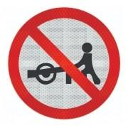 Placa Trânsito Proibido A Carros De Mão Refletivo R-40 Grau Técnico Comercial - 50x50cm