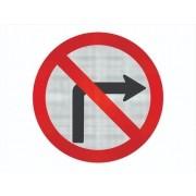 Placa Viaria Proibido Virar A Direita R-4b Grau Técnico I - 50x50cm