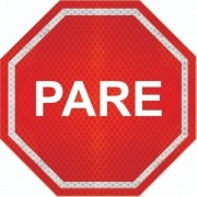Placas De Pare (parada Obrigatória) Adesivo Refletivo R-1 Grau Técnico Comercial - 50x50cm
