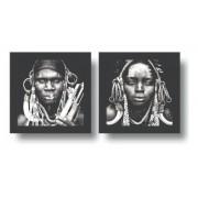 Kit 2 Quadros Decorativos - Tribal | Africanos -Preto Branco 25x50