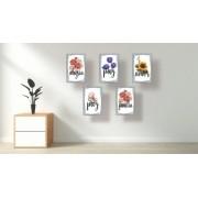Quadro Decorativo Flores Kit De 5 Quadros 30x20cm